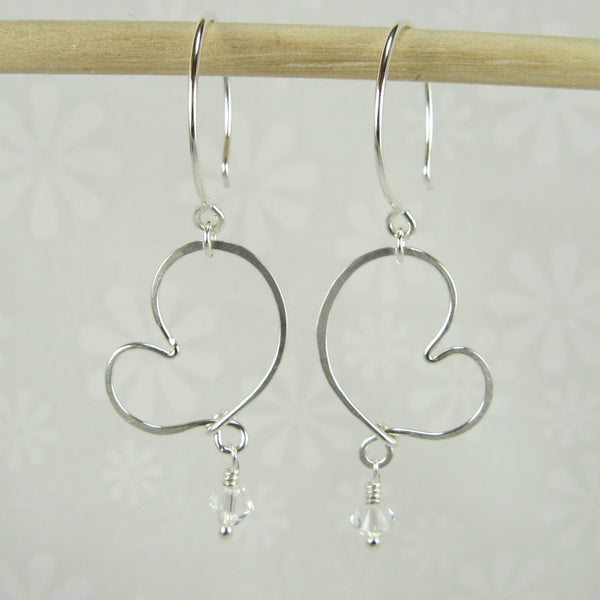 Cherish Silver Heart Earrings with Crystals - Cloverleaf Jewelry