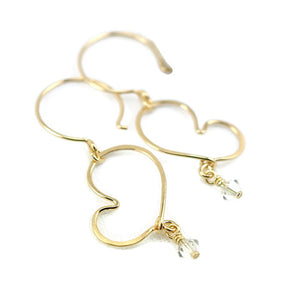 Cherish Gold Heart Earrings with Crystals