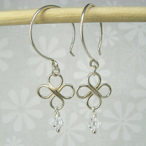 Clovers Silver Earrings with Crystals