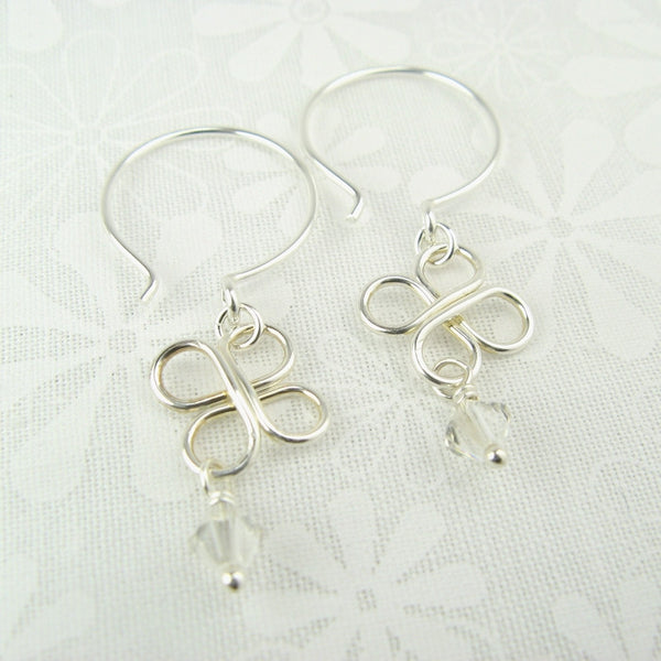 Clovers Silver Earrings with Crystals - Cloverleaf Jewelry