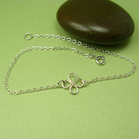 Clover Silver Anklet - Cloverleaf Jewelry