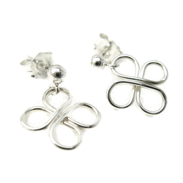 Clovers Silver Ball Post Earrings