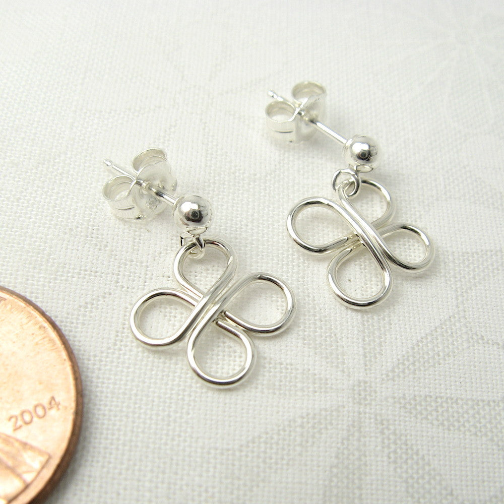 Clovers Silver Ball Post Earrings - Cloverleaf Jewelry