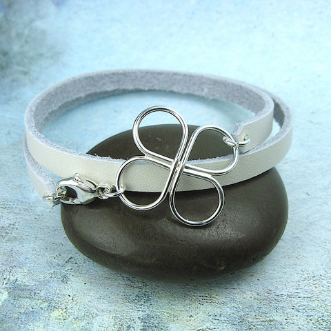 Clovers Leather Wrap Bracelet - Cloverleaf Jewelry