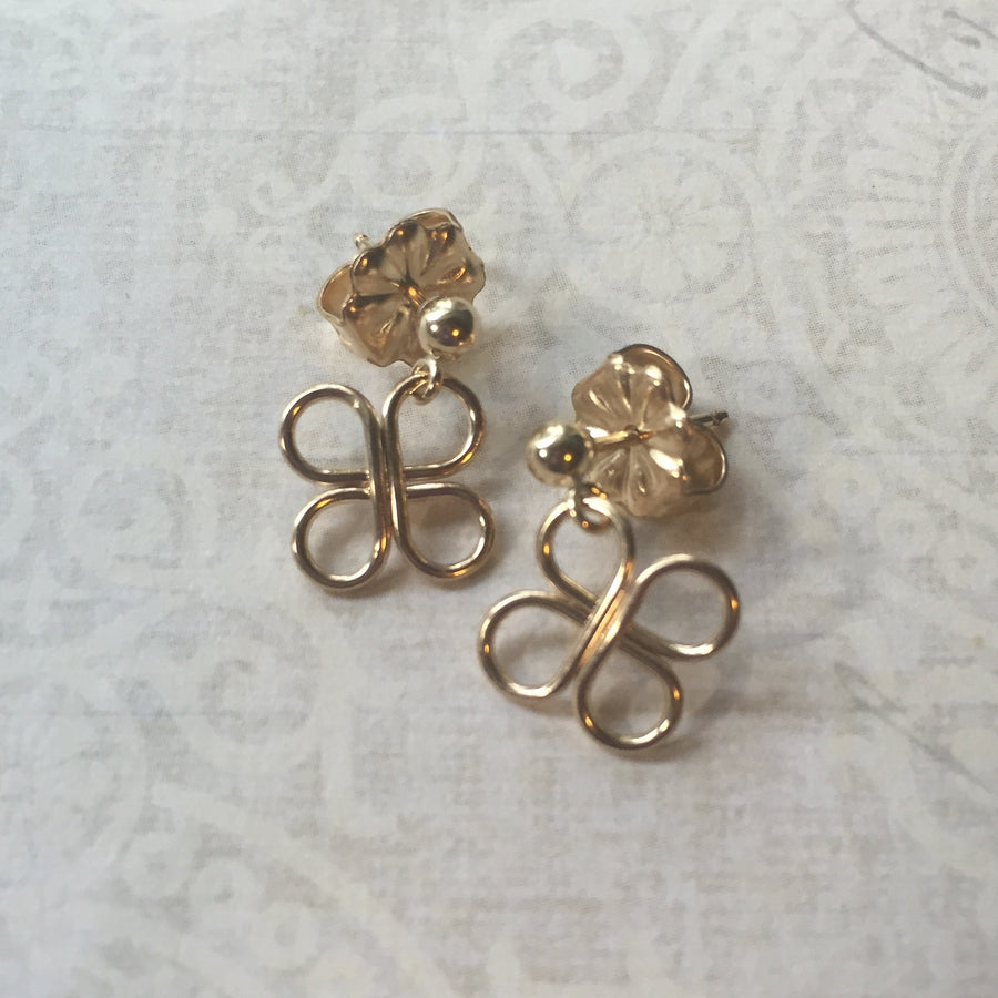 Clovers Gold Ball Post Earrings