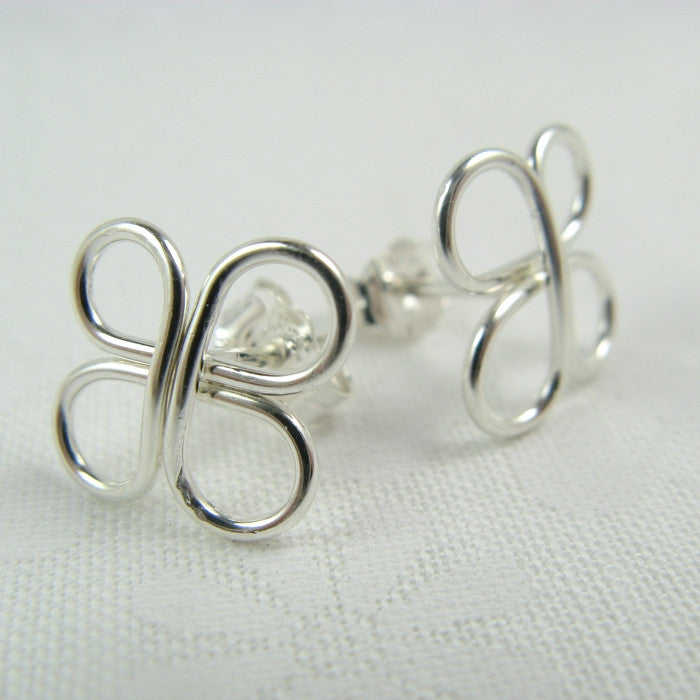 Clovers Silver Post Earrings