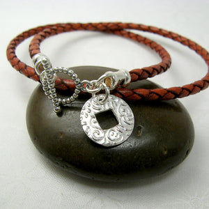 Coin Charm Leather Wrap Bracelet