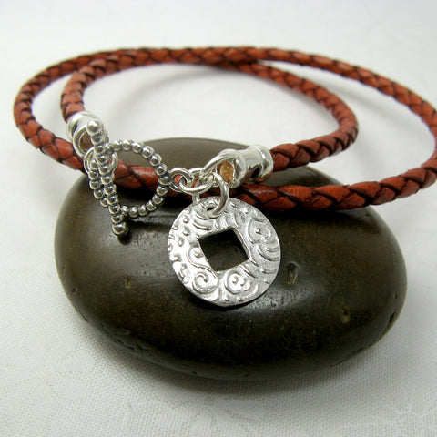 Coin Charm Leather Wrap Bracelet - Cloverleaf Jewelry