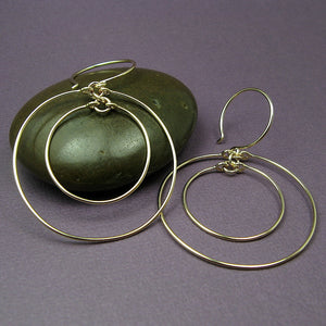 Concentric Gold Hoop Earrings - Cloverleaf Jewelry