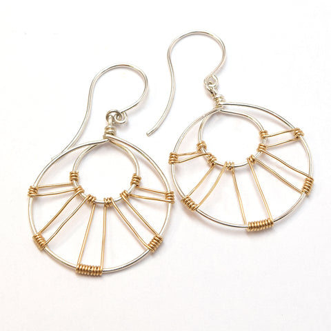 Corona Silver and Gold Earrings - Cloverleaf Jewelry