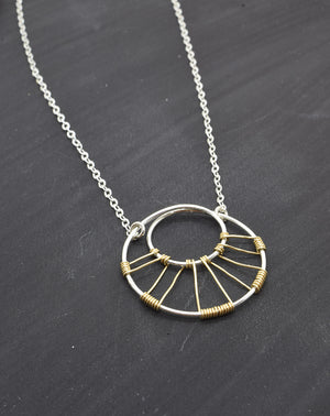 Corona Silver and Gold Necklace - Cloverleaf Jewelry