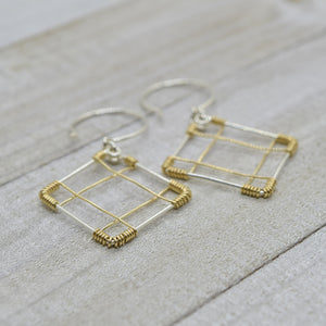Deco Silver and Gold Earrings - Cloverleaf Jewelry