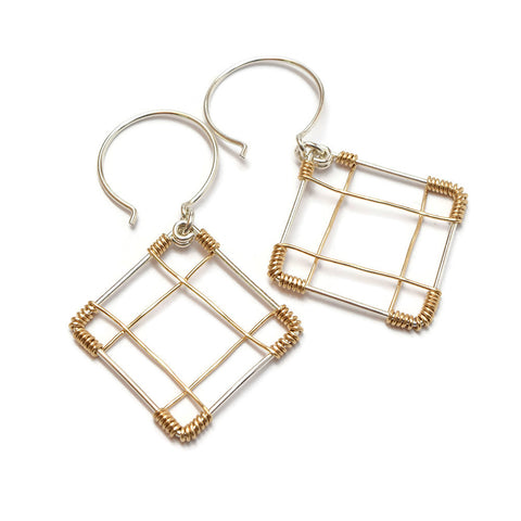 Deco Silver and Gold Earrings