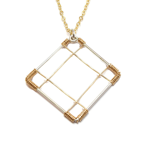 Deco Silver and Gold Necklace - Cloverleaf Jewelry