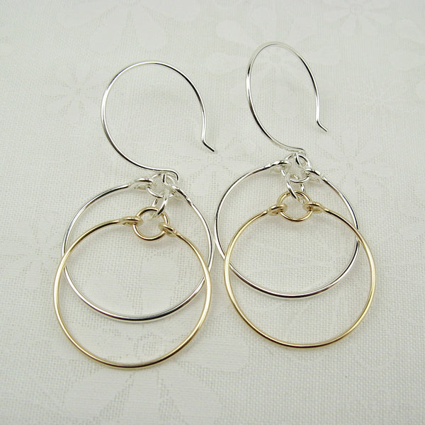 Eclipse Silver and Gold Earrings - Cloverleaf Jewelry