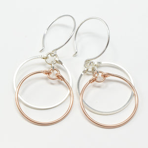 Eclipse Silver and Rose Gold Earrings - Cloverleaf Jewelry