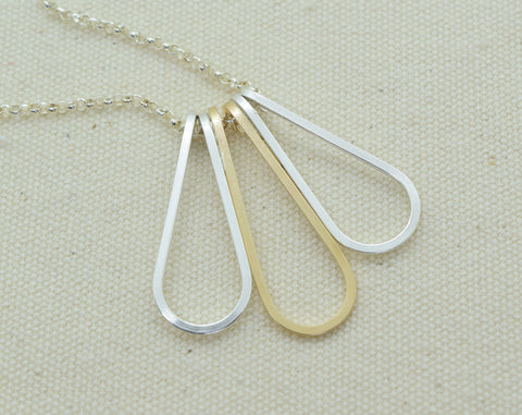 Elan Multi-drop Silver and Gold Necklace