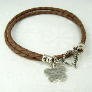 Flower Charm Leather Wrap Bracelet