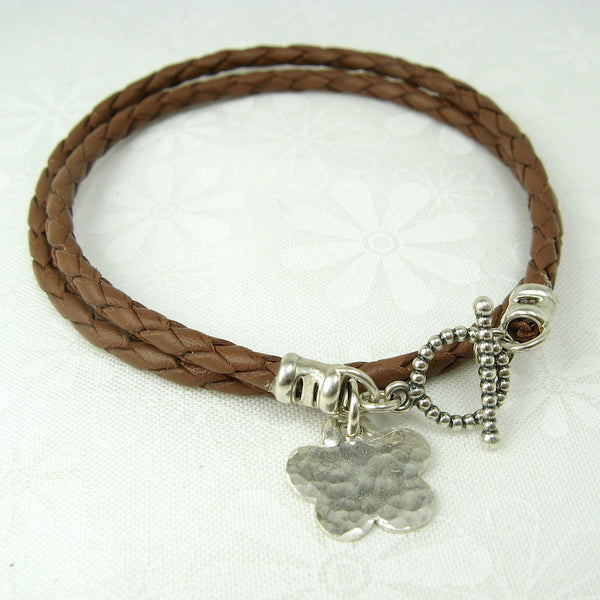 Flower Charm Leather Wrap Bracelet - Cloverleaf Jewelry