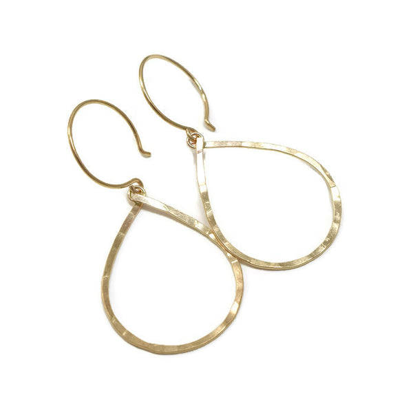 Geometric Gold Tear Drop Earrings - Cloverleaf Jewelry