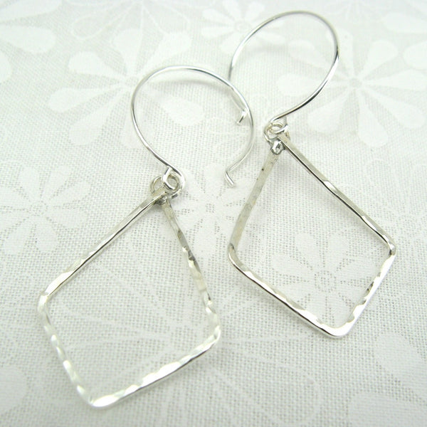 Geometric Silver Diamond Shaped Earrings - Cloverleaf Jewelry