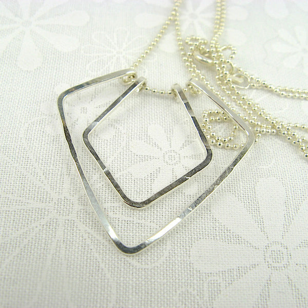 Geometric Silver Necklace - Cloverleaf Jewelry
