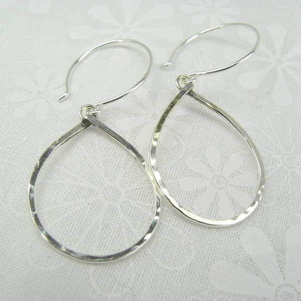 Geometrica Silver Tear Drop Earrings - Cloverleaf Jewelry