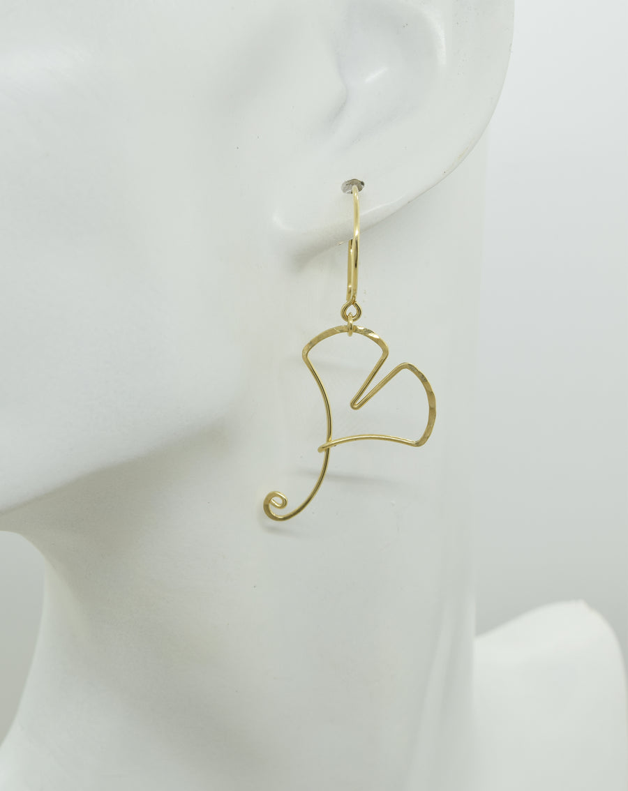 Ginkgo Leaf Gold Earrings