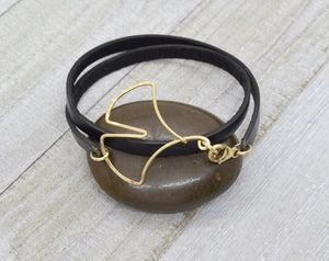 Ginkgo Leaf Leather Wrap Bracelet, Gold