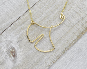 Ginkgo Leaf Gold Necklace