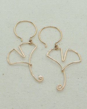Ginkgo Leaf Rose Gold Earrings