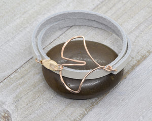 Ginkgo Leaf Leather Wrap Bracelet, Rose Gold