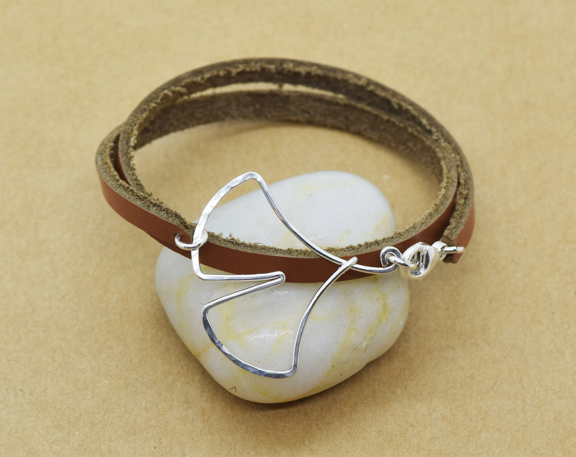 Ginkgo Leaf Leather Wrap Bracelet, Sterling Silver