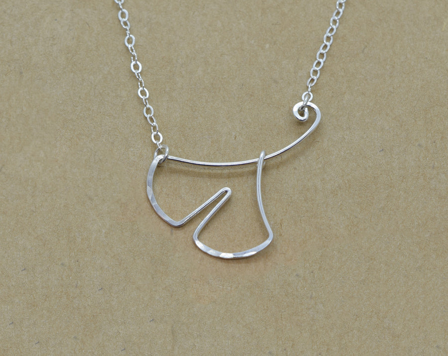 Ginkgo Leaf Silver Necklace