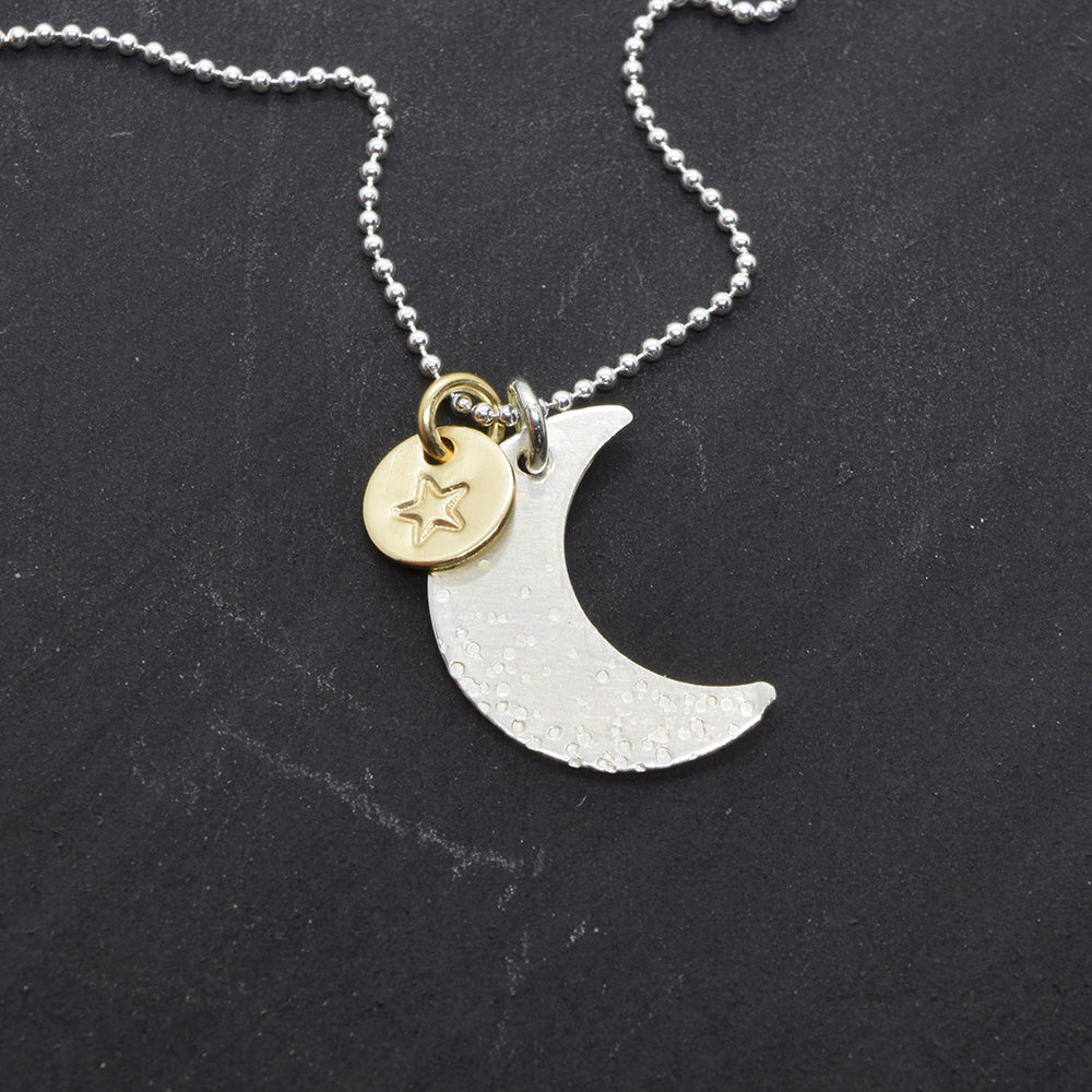 Good Night Moon and Star Necklace - Cloverleaf Jewelry