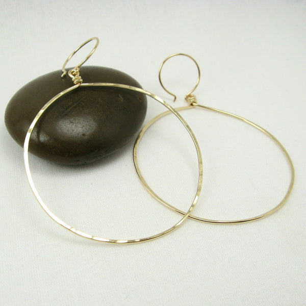 Halo Gold Hoop Earrings, Large - Cloverleaf Jewelry