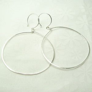 Halo Silver Hoop Earrings, Large