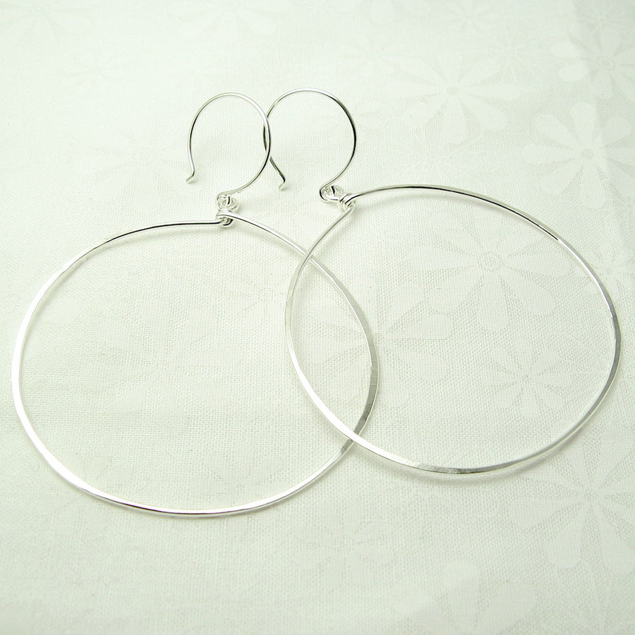 Halo Silver Hoop Earrings, Large - Cloverleaf Jewelry