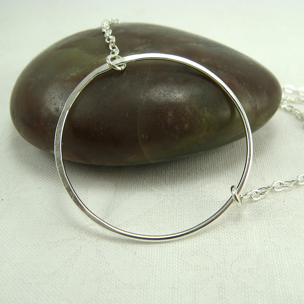Halo Silver Circle Necklace - Cloverleaf Jewelry