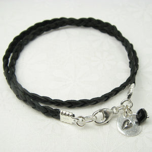 Heart in a Heart Charm Leather Wrap Bracelet