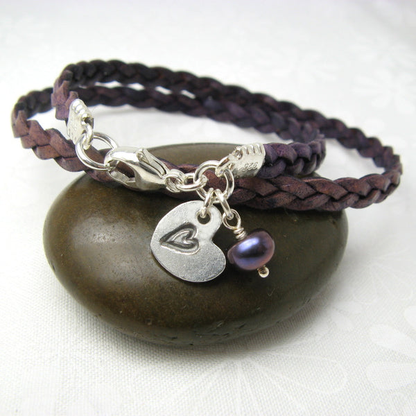 Heart in a Heart Charm Leather Wrap Bracelet - Cloverleaf Jewelry