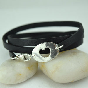 Hole Hearted Leather Wrap Bracelet