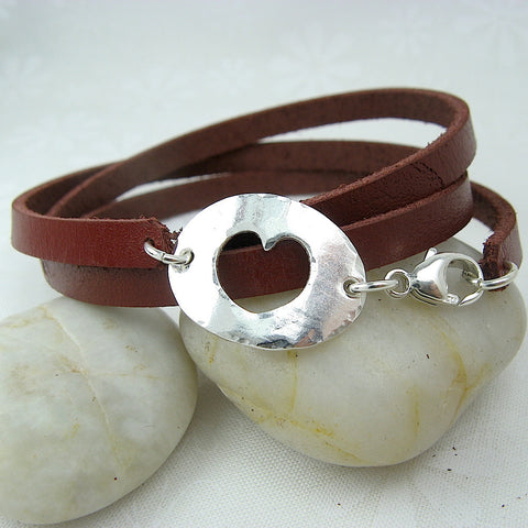 Hole Hearted Leather Wrap Bracelet - Cloverleaf Jewelry