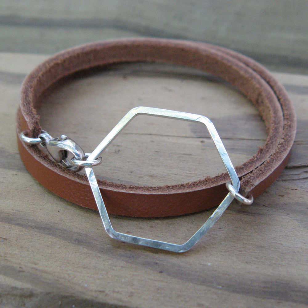 Honeycomb Leather Wrap Bracelet