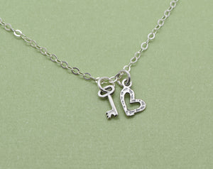 Sterling Silver Tiny Heart and Key Charm Necklace, Heart and Key Pendant, Girlfriend Gift, Add Initial or Birthstone, Personailzed Monogram