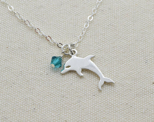 Sterling Silver Dolphin Charm and Birthstone Necklace, Dolphin Pendant, Ocean Lover Gift, Present for Friend, Porpoise, Simple Necklace