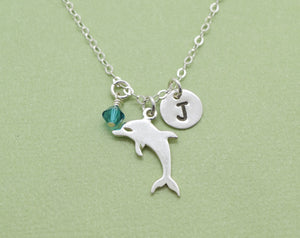 Sterling Silver Dolphin Charm Necklace, Dolphin Pendant, Ocean Lover Gift, Present for Friend, Porpoise, Simple Animal Necklace, Add Initial