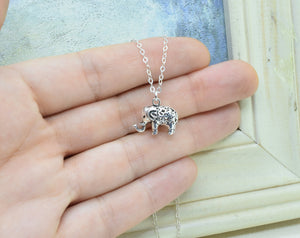 Sterling Silver Elephant Charm Necklace, 3-D Elephant Pendant, Good Luck Gift, Present for Friend, Pachyderm, Personalized Jewelry