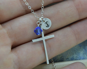Large Sterling Silver Cross Charm Necklace, Cross Pendant, Baptism Christening Gift, First Communion, With Birthstone and Initial