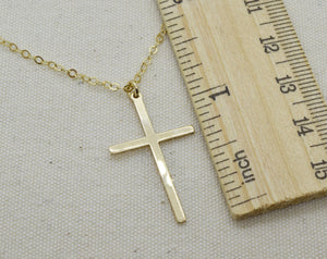 Large Gold Cross Charm Necklace, Cross Pendant, Baptism Christening Gift, First Communion, With Birthstone and Initial